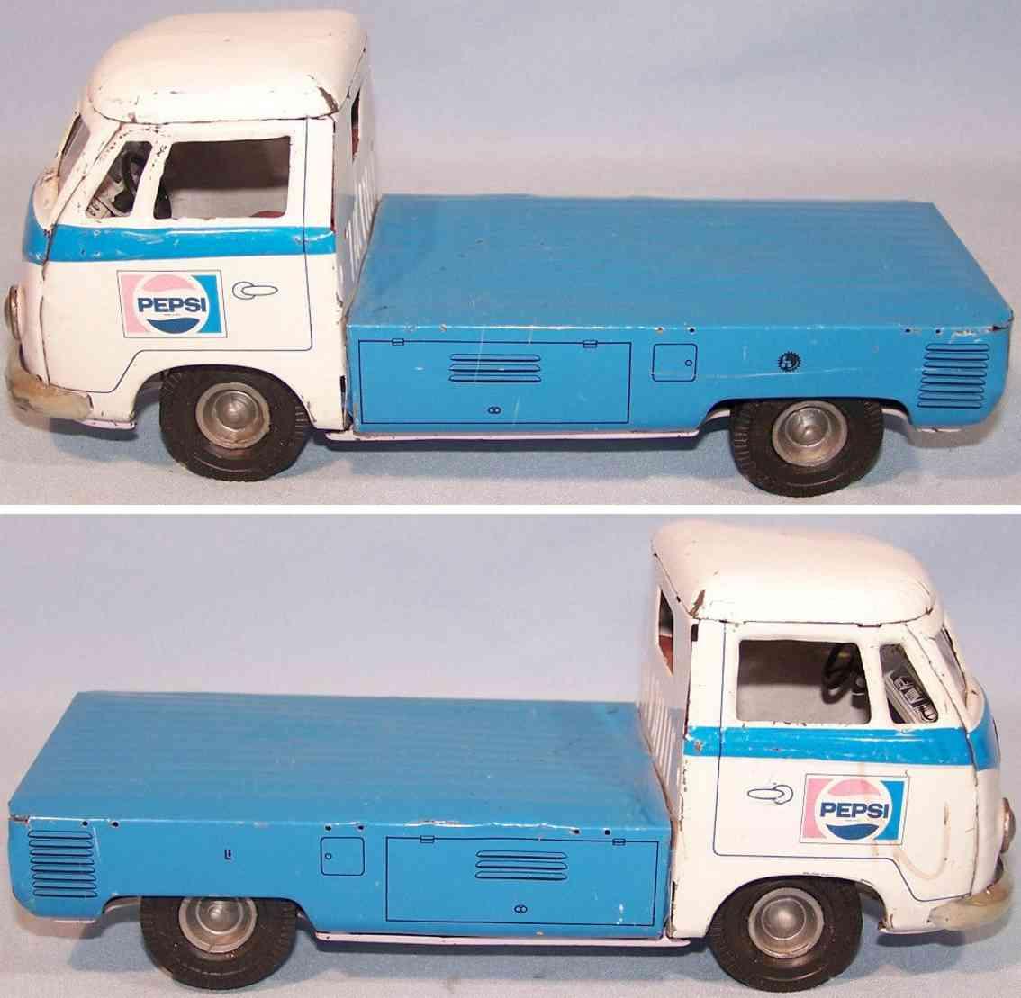 tippco blech spielzeug lieferwagen pepsi schwungrad blau weiss