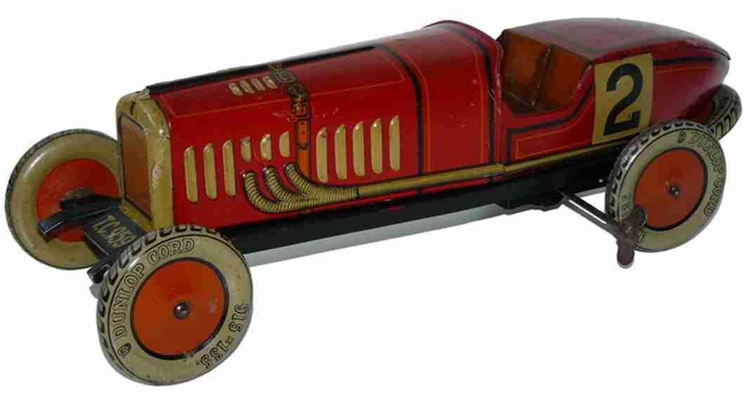 tippco 959 tin toy race car  racing car red