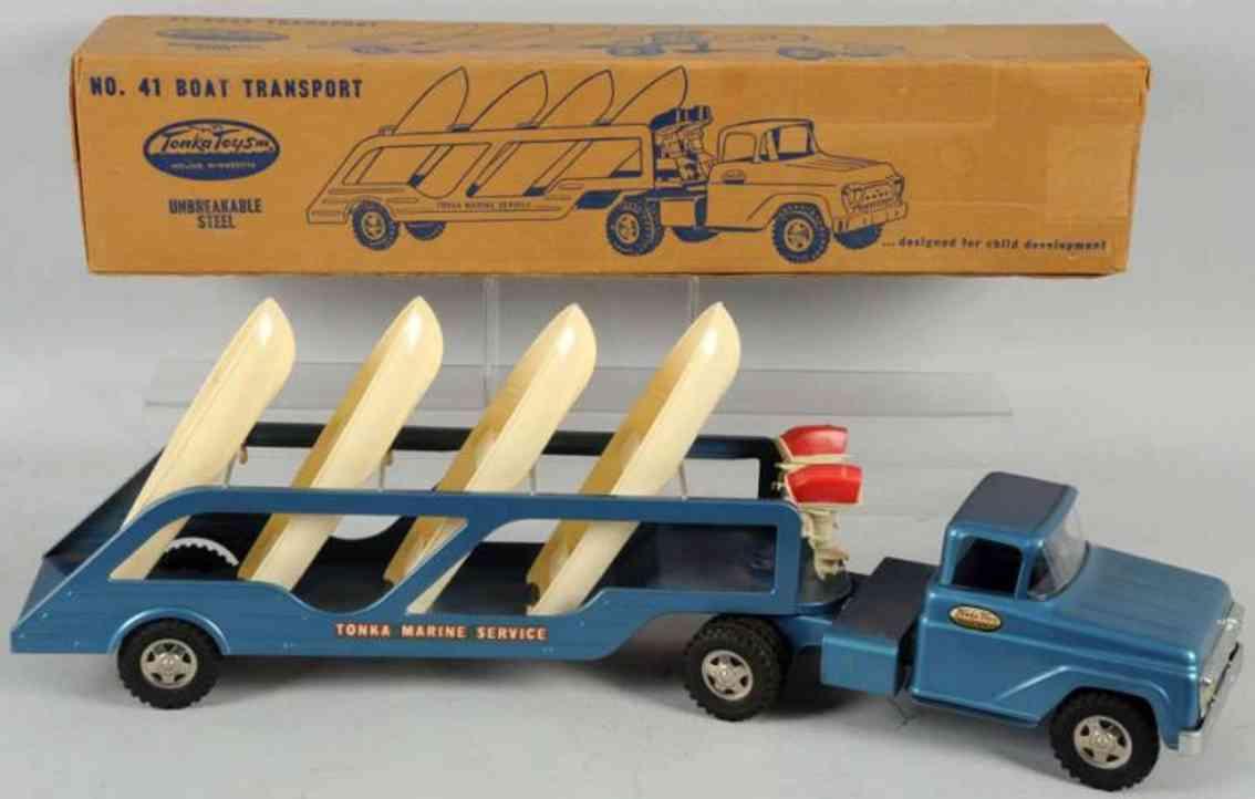tonka toys 41 stahlblech spielzeug boot-transportlastwagen blau