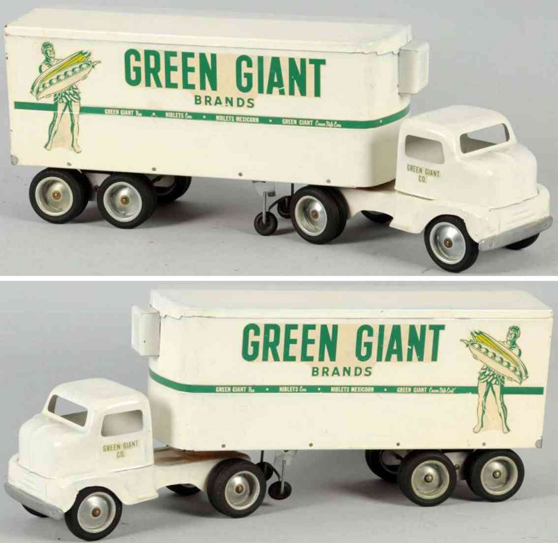 tonka toys 650-4 pressed steel toy green giant truck  green giantwhite