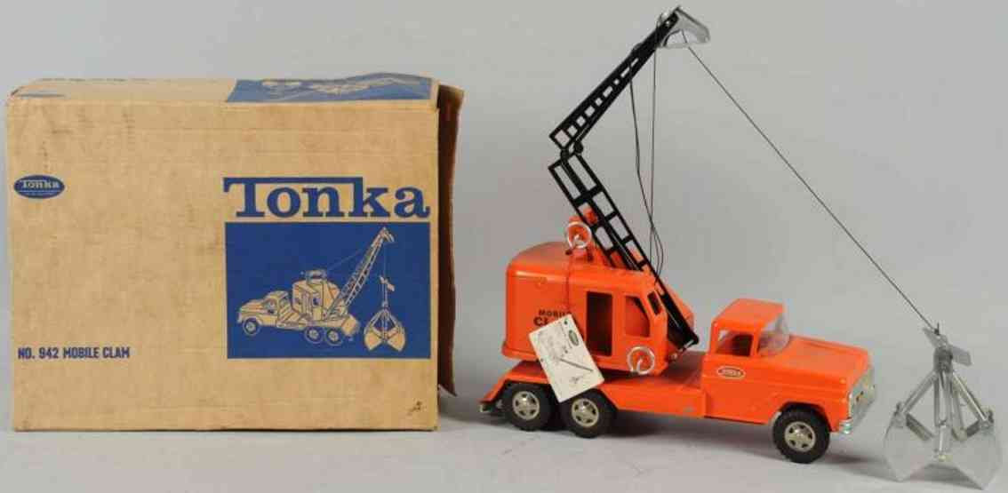 tonka toys 942 pressed steel mobile clam truck orange