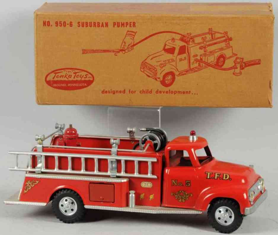 tonka toys 950-6  toy pressed steel suburban fire pumper truck red