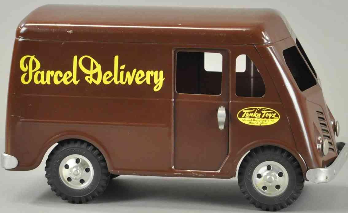 tonka toys blech spielzeug paketlieferwagen in dunkelbraun,