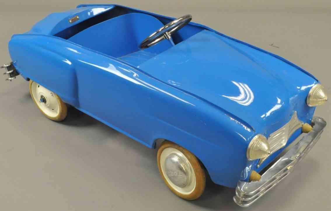 torck stahlblech spielzeug belgisches coupe tretauto  blau