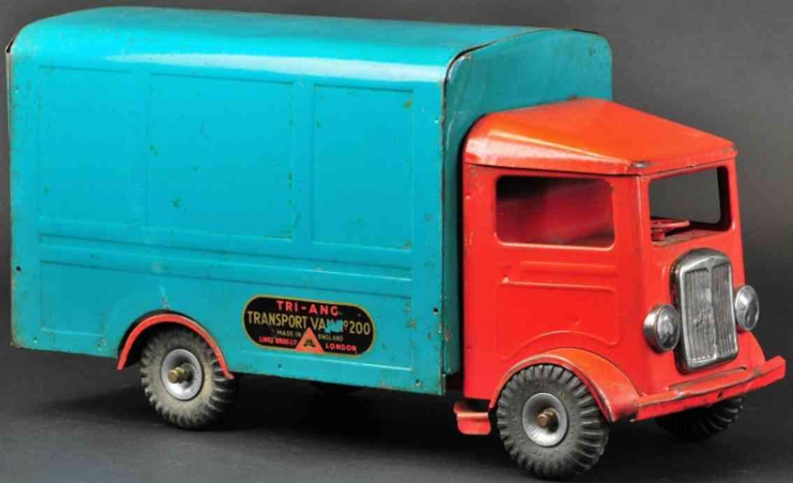 tri-ang 200 stahlblech spielzeug lieferwagen  rot blaugruen