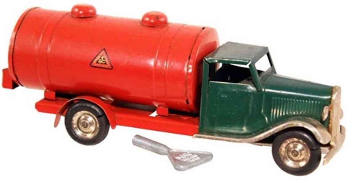 lines bros ltd tri-ang tin toy truck gas taker truck red green