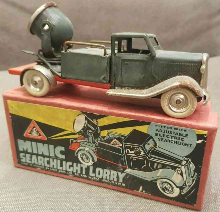 lines bros ltd tri-ang tin toy truck minic searchlight lorry