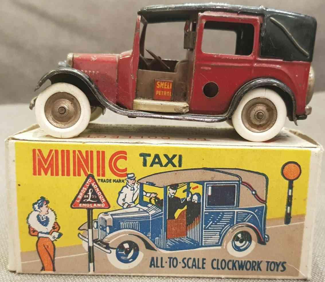 lines bros ltd tri-ang tin toy car minic taxi car in dark red