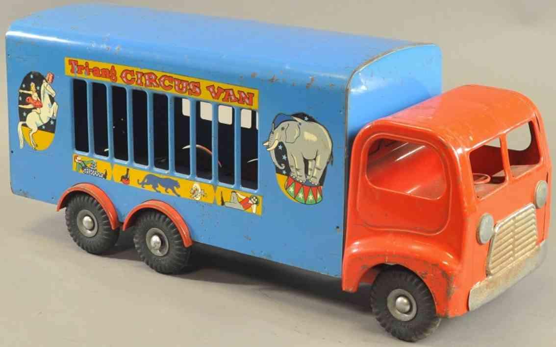 tri-ang stahlblech spielzeug zirkuswagen rot blau