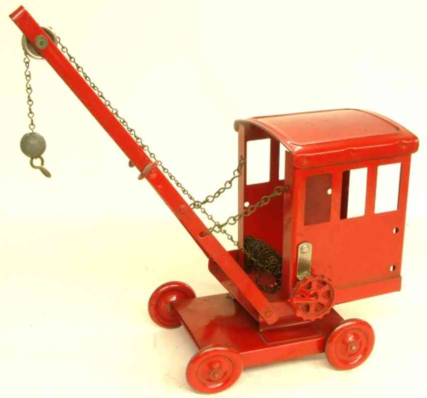 tri-ang 1 tin toy car mobile, rotatable tin crane in red, metal wheels, with a cra