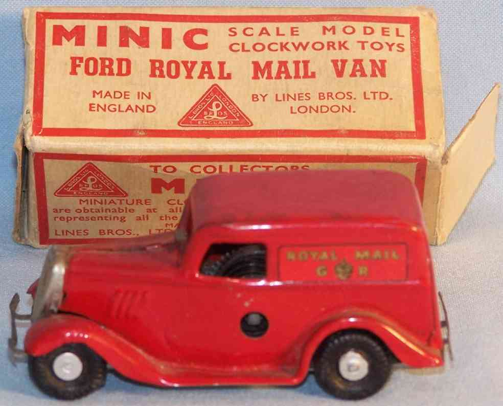 lines bros ltd tri-ang 3m blech spielzeug minic ford royal mail van uhrwerk