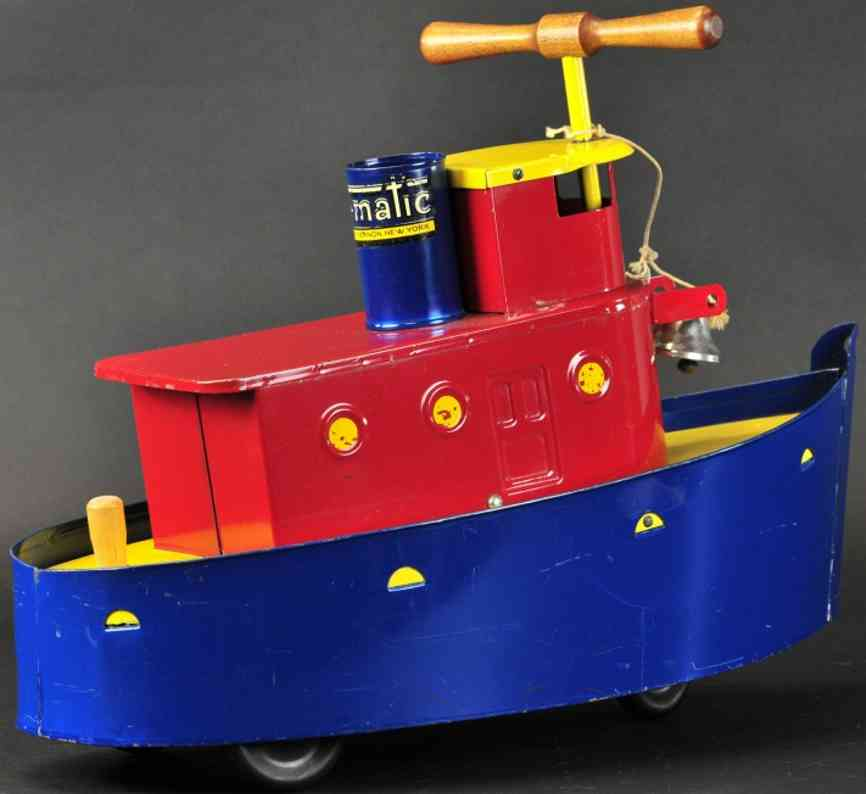 tru-matic toy company pressed steel toy ride-on tug boat mount vernon