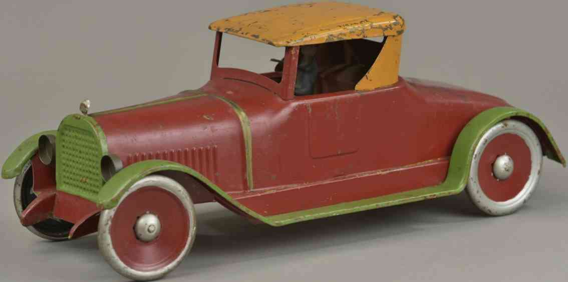turner toys blech spielzeug auto coupe rot dach orange trittbretter gruen