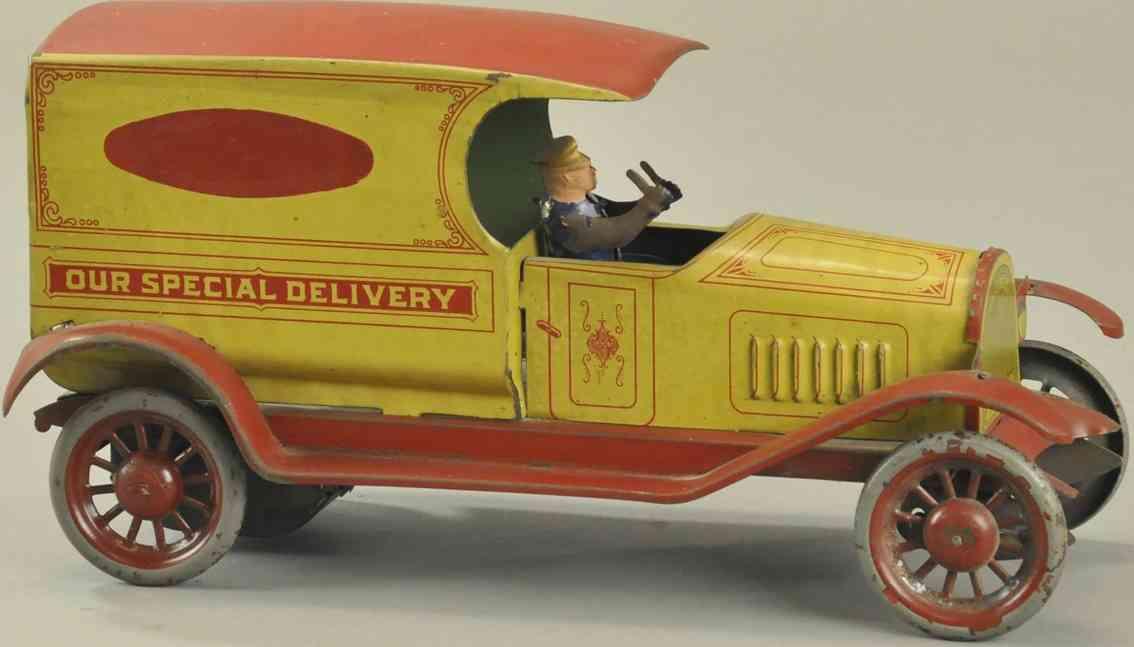 turner toys blech spielzeug spezial lieferwagen gelb rot