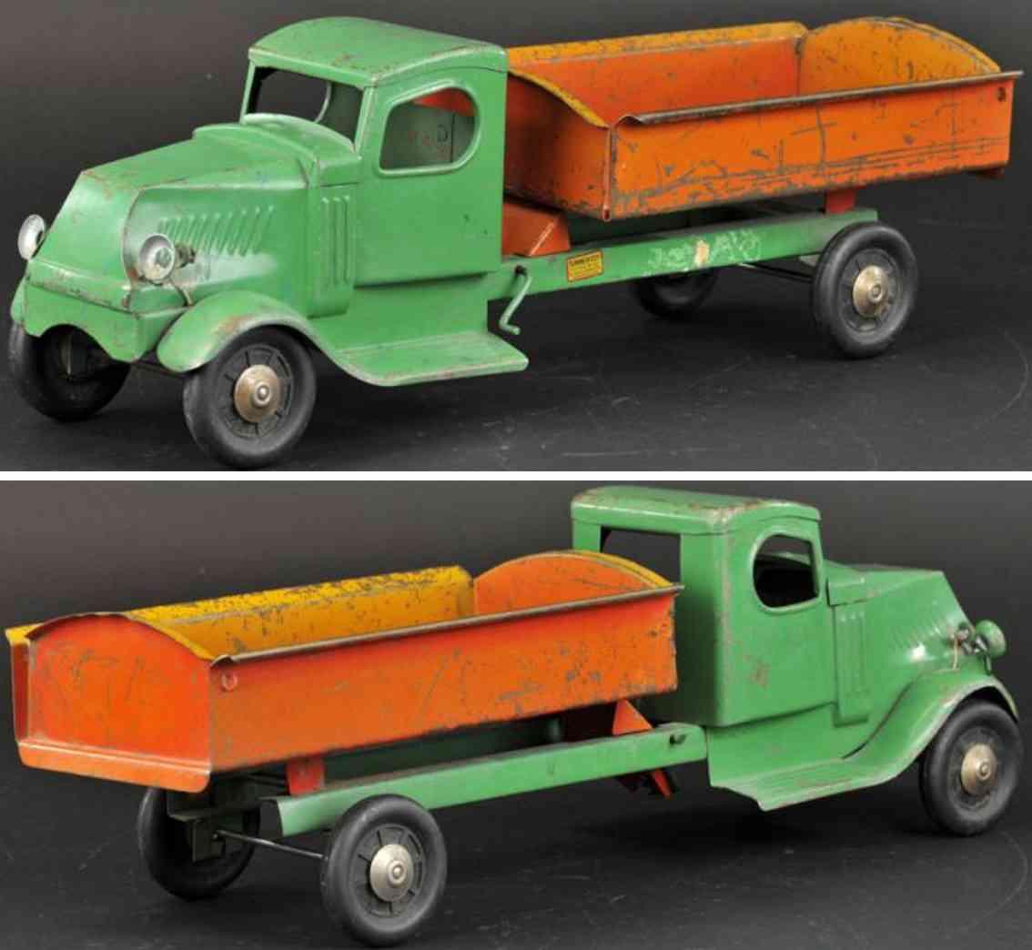 turner toys stahlblech spielzeug mack kipplastwagen gruen orange