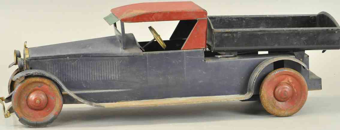 turner toys pressed stee toy dump truck blue red