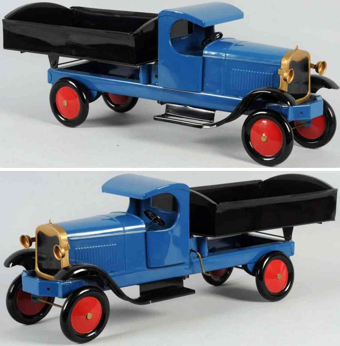 turner toys pressed stee toy dump truck blue