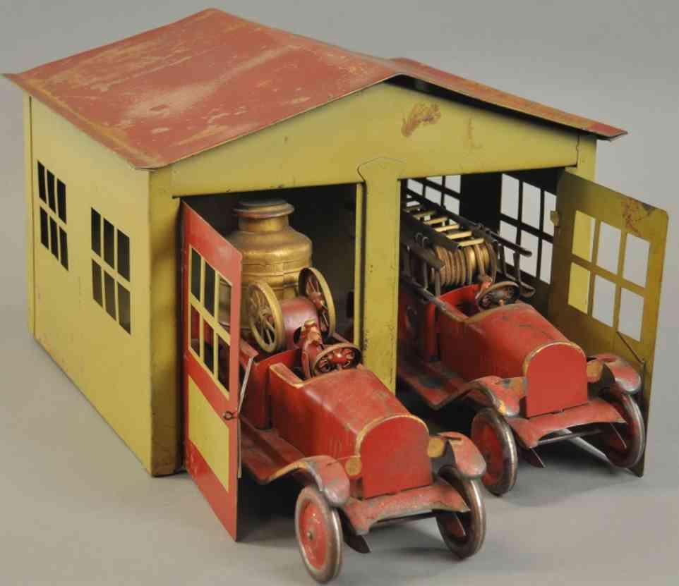 turner toys stahlblech spielzeug garage mit zwei feuerwehrwagen