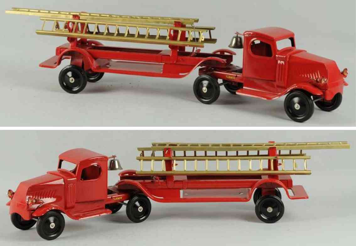 turner toys toy pressed steel fire ladder truck