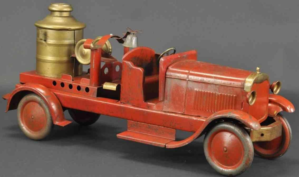 turner toys  pressed steel chemical fire truck red