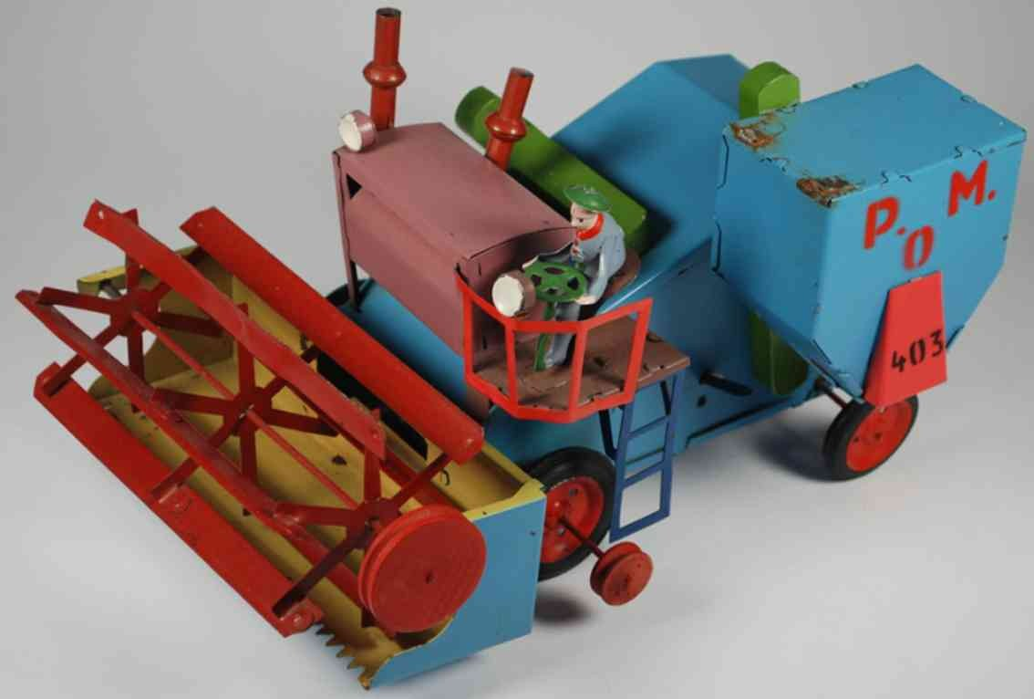 unknown 403 tin toy threshing machine p.o.m. 403, wind-up toy, the canopy over d