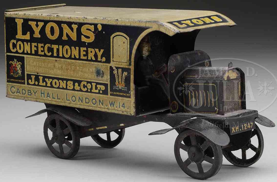unknown blech spielzeug lastwagen lyon's zuckerlieferwagen aus lithografiertem blech, ist im o