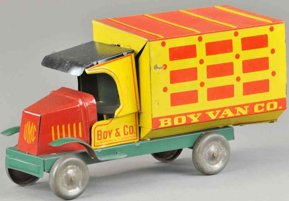 upton machine company tin toy truck delivery truck red yellow boy van co