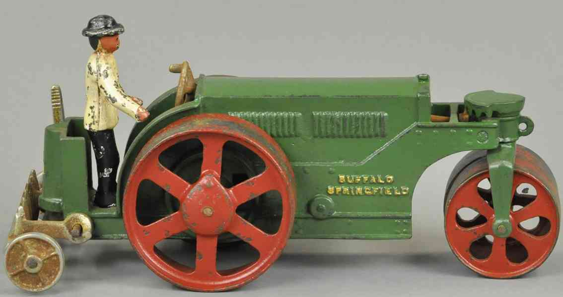 vindex cast iron toy road roller green red