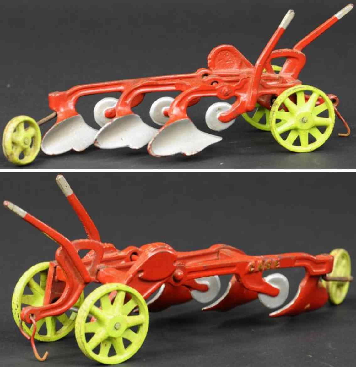 vindex spielzeug gusseisen traktor drei pfluege rot