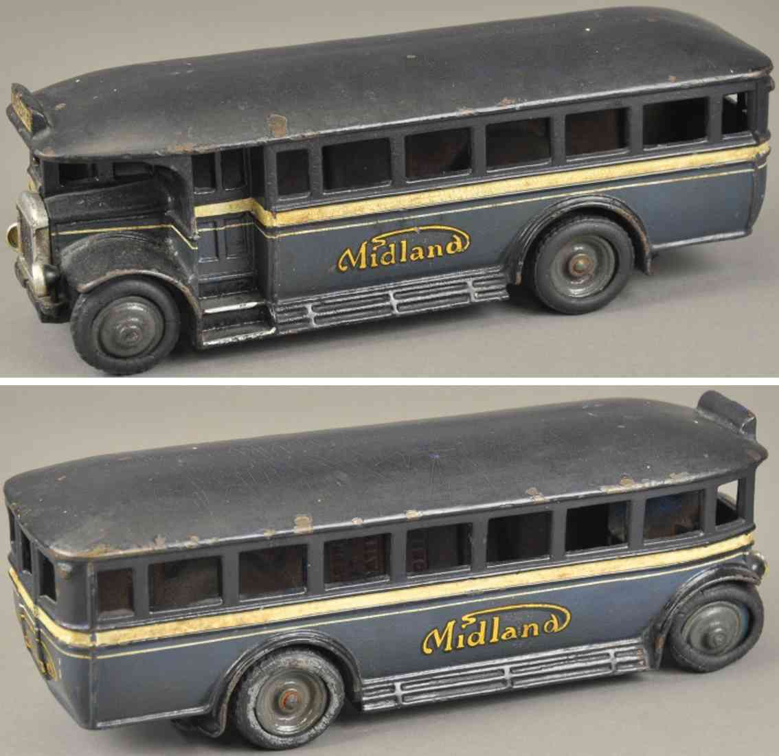 wallwork henry and co spielzeug gusseisen midland bus blau