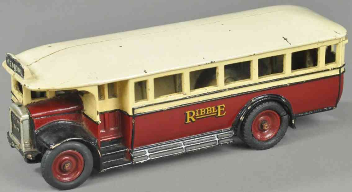 wallwork henry and co cast iron toy ribble bus maroon white