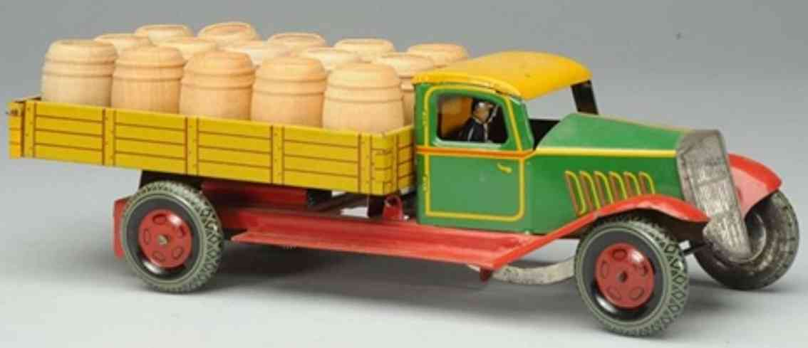 wells brimtoy tin beer truck wind-up toy driver
