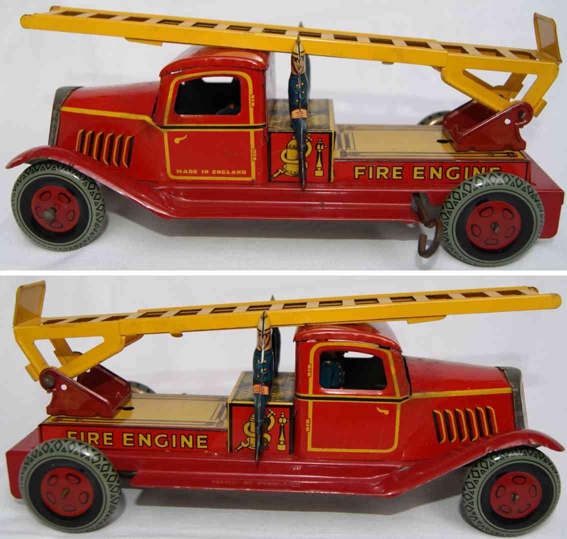 wells m141 blech spielzeug feuerwehrleiterwagen rot gelb