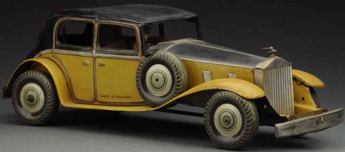 wells brimtoy blech spielzeug auto rolls royce limousine mit uhrwerk gelb schwarz