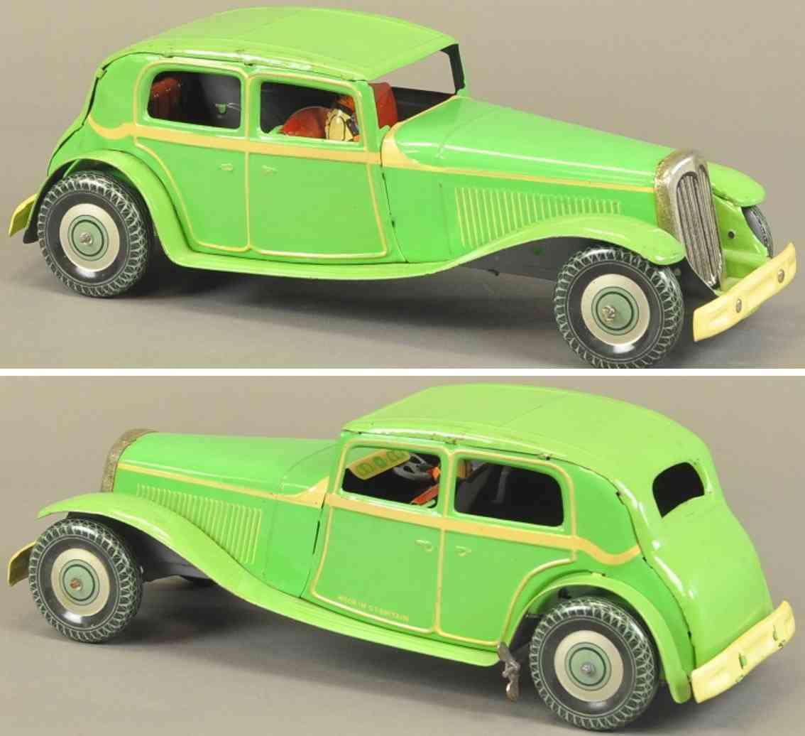 wells luxusmodell blech spielzeug auto london coupe gruen gelb