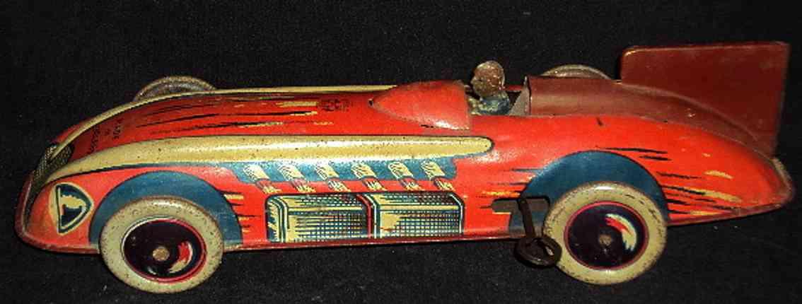wells brimtoy blech spielzeug rennauto rennwagen mit uhrwerk und fahrer in rot und gelb, ballonräde