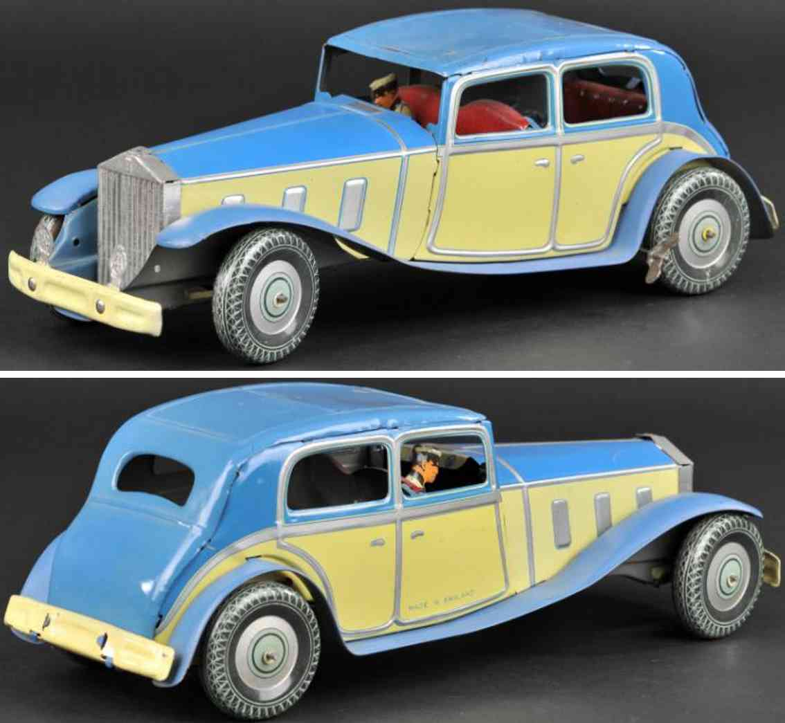 wells blech spielzeug auto rolls royce blau gelb