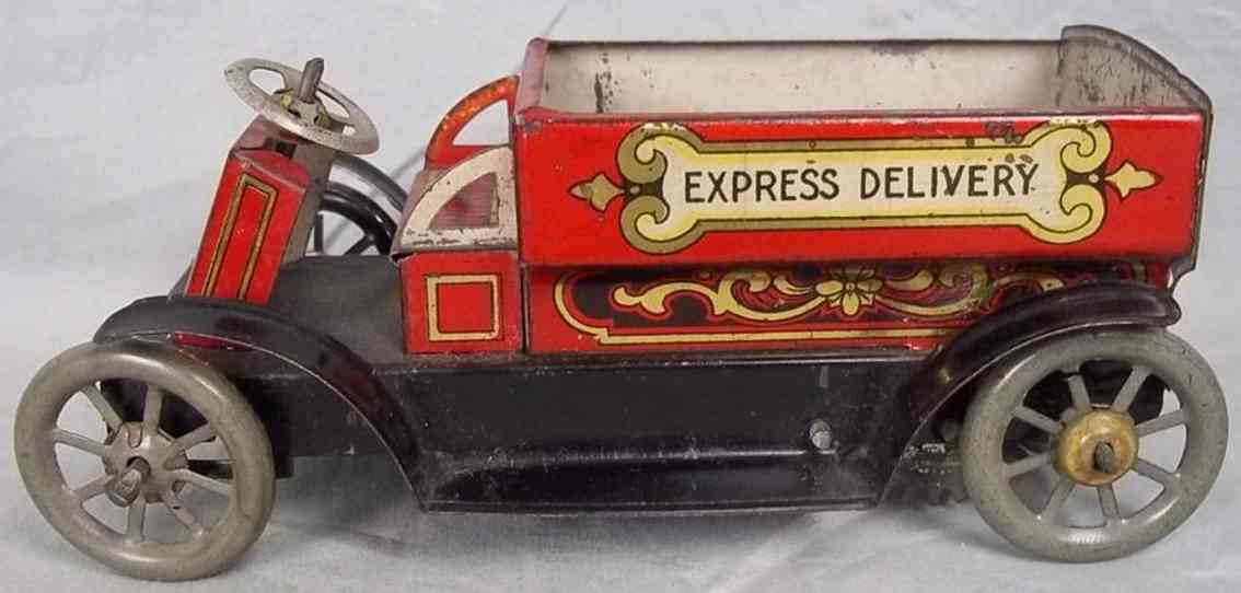 whiteley tansley and company tin toy open delivery truck express delivery red