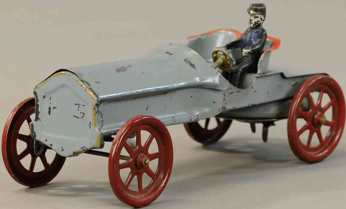 wilkens tin toy race car open auto racer with driver in uniform light gray