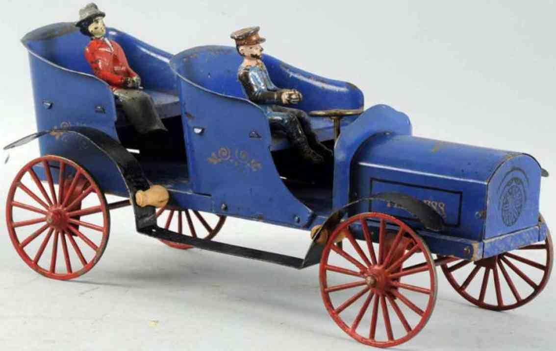 wilkins blech holz spielzeug auto rennwagen blau peerless