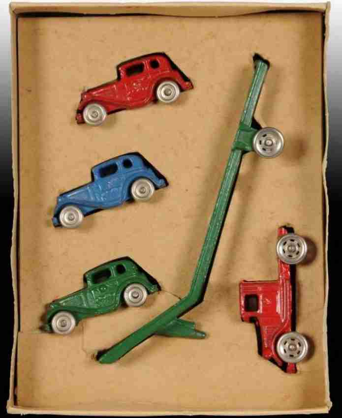 williams ac 608 cast iron toy car austin car carrier toy with  box and 3 cars, set no. 608, ca