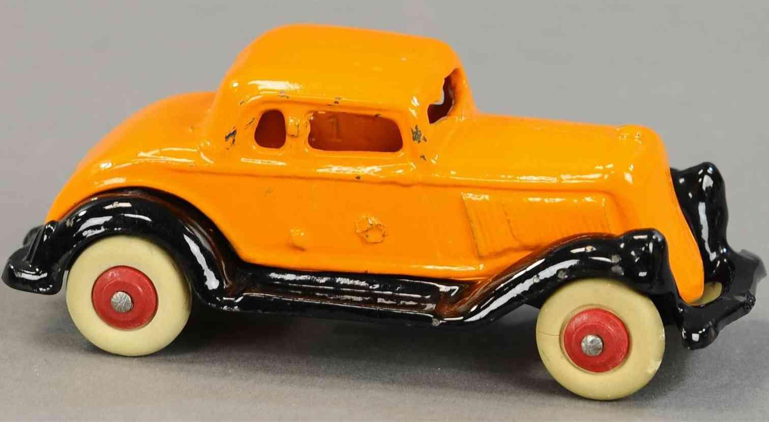 williams ac cast iron toy car coupe made of cast iron orange black