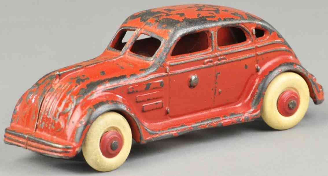 williams ac cast iron toy car airflow sedan red