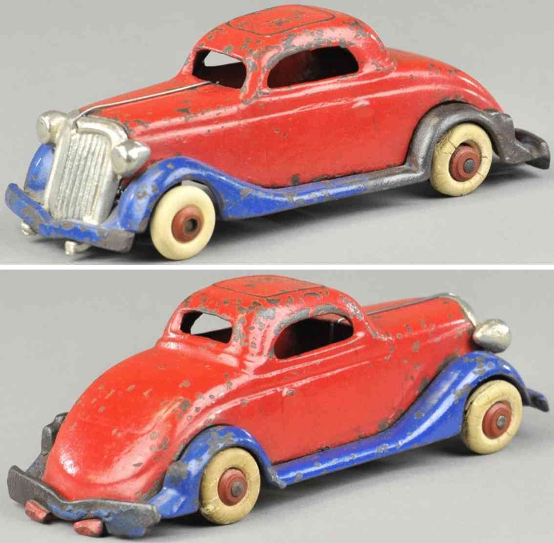 williams ac cast iron toy car coupe red blue
