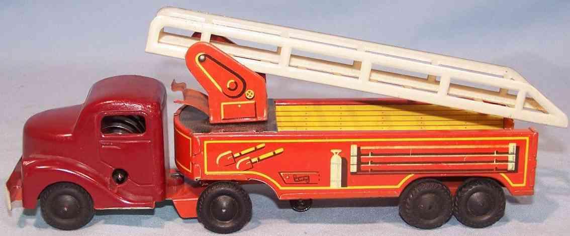 wimmer heinrich hwn tin toy fire ladder engine car clockwork