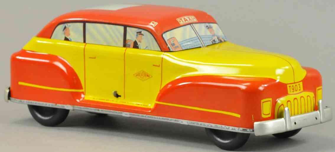 wolverine taxi t903 blech spielzeug auto gelb rot fahrer passagier