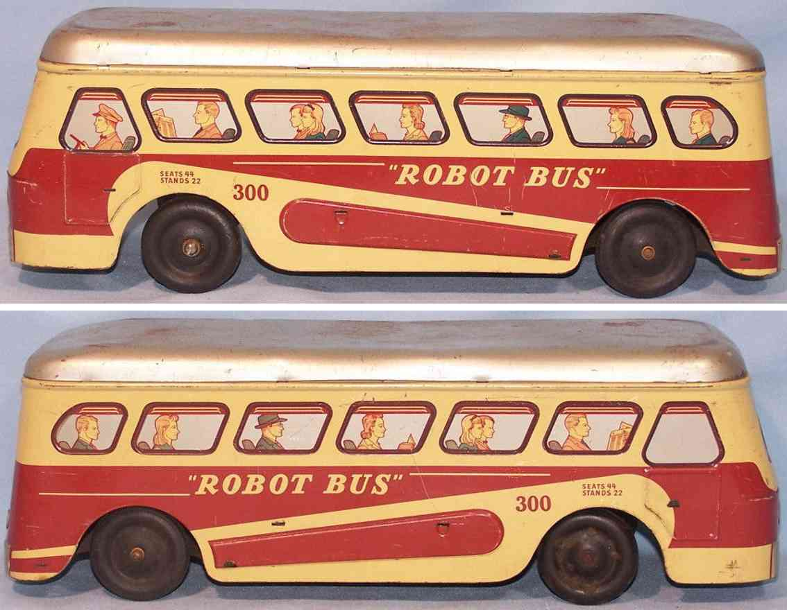 woodhaven metal stamping co 300 toy tin robot bus