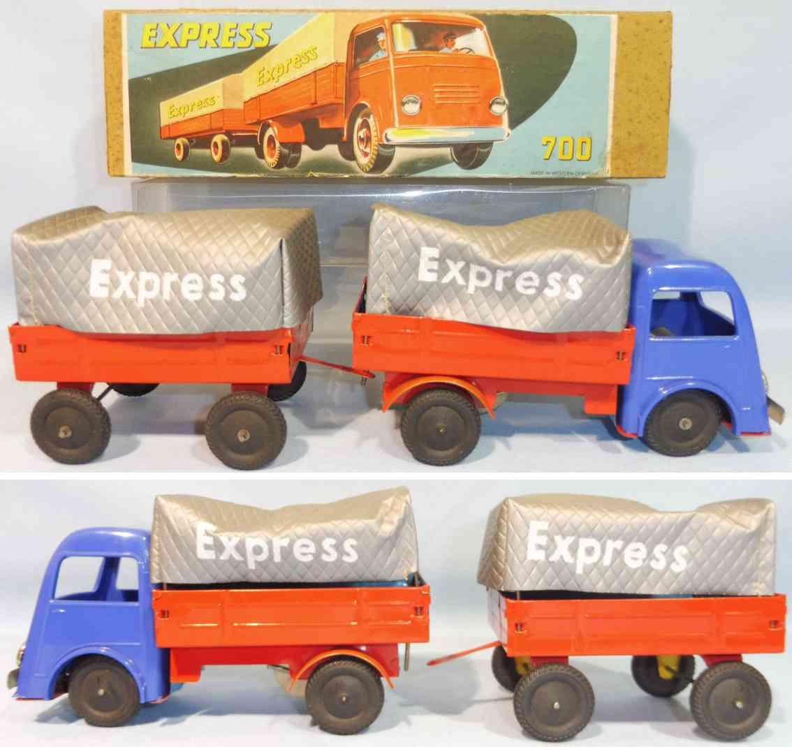 wunnerlein wuco 700 tinplastic  toy truck trailer