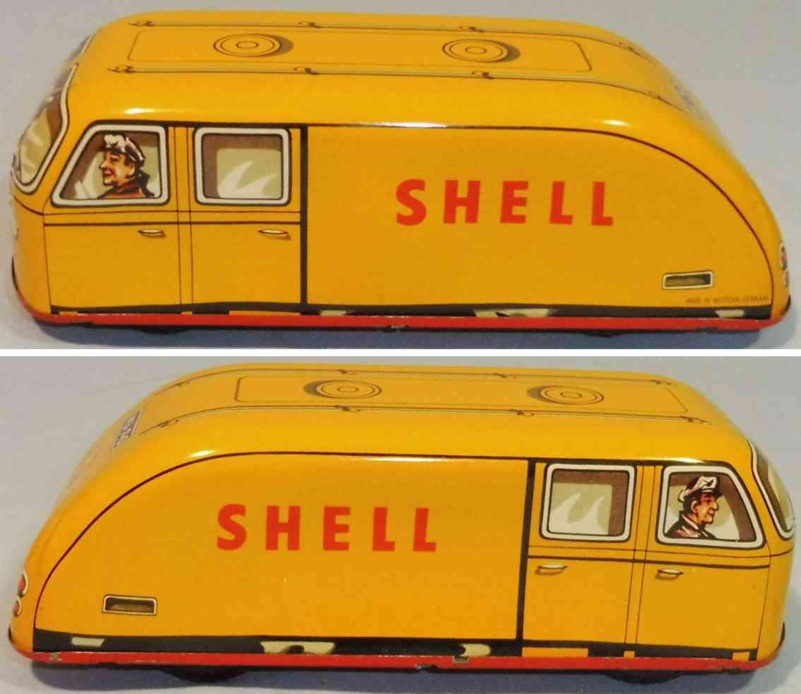 wunnerlein wuco 740 tin toy shell truck yellow flywheel
