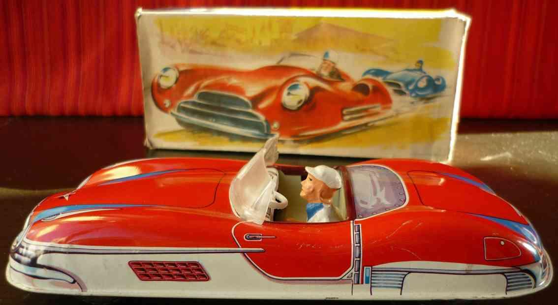 wuennerlein wueco Cabrio blech spielzeug auto cabrio mit frktionsantrieb und original karton, aus blech